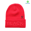 Red jersey knitted beanie hat with 3D embroidery on cuff