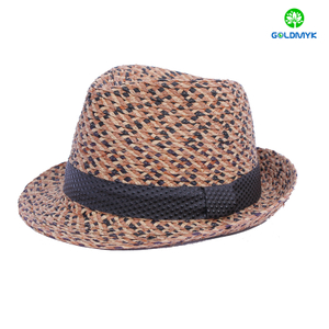 Wholesale custom unisex raffia fedora hat with accessory band