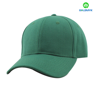 100% Acrylic baseball cap in dark green color