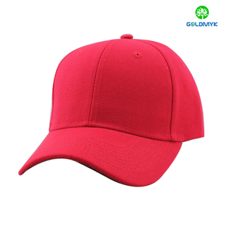 Red baseball cap with 100% acrylic material