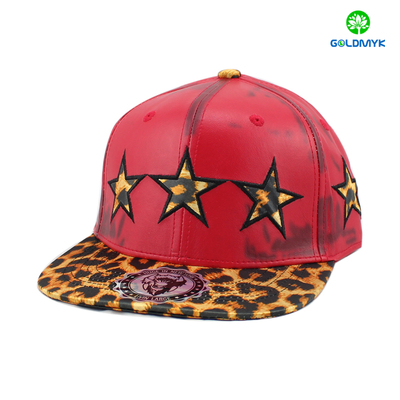 Six panel imitation leather snapback cap with embroidery patch logo