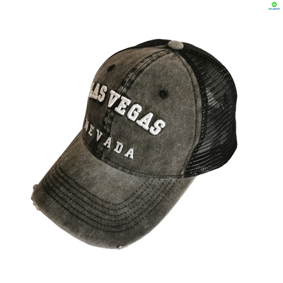 Customized Embroidery Coated Washed Distressed Mesh Cap